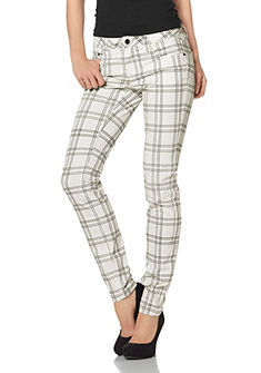 LAURA SCOTT Skinny-broek met ruitprint allover