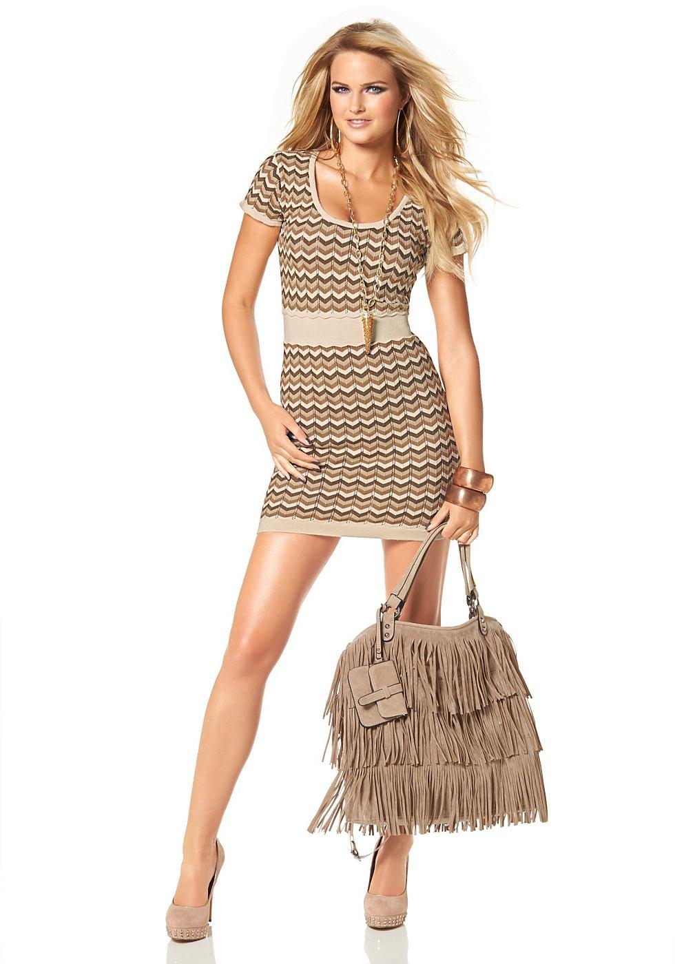Melrose Tricot-jurk in zigzag-look beige