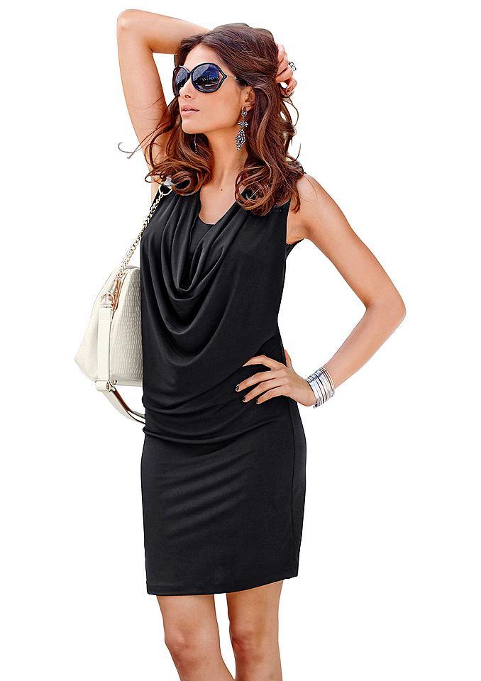 Vivance Collection jersey-jurk met cascadehals zwart
