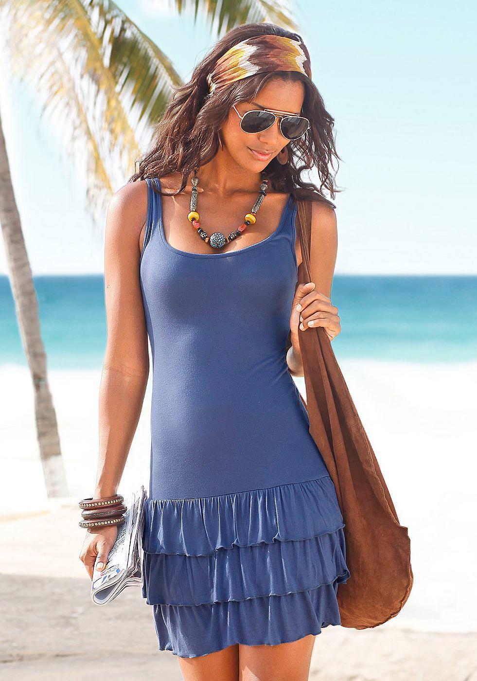 Beachtime Strandjurk met volants blauw