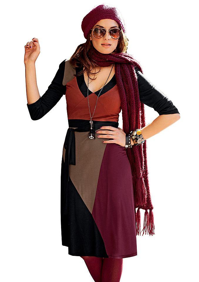 Aniston jersey-jurk met sierriem zwart
