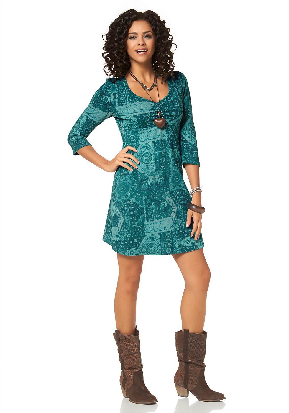 Boysen's jersey-jurk met allover-print blauw