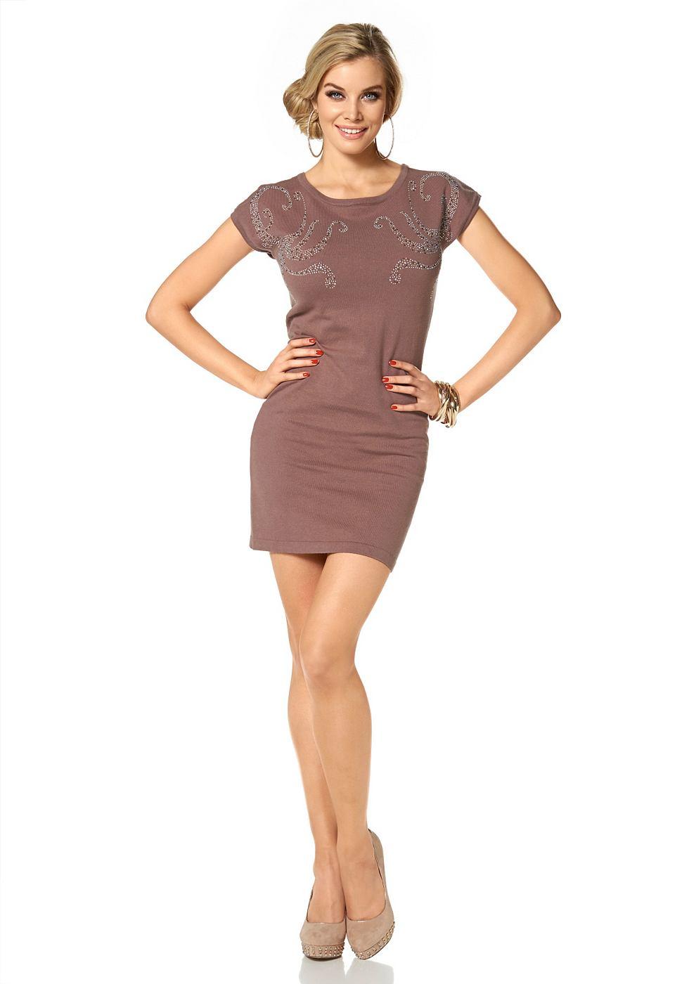 Melrose Tricot-jurk met strasapplicatie bruin