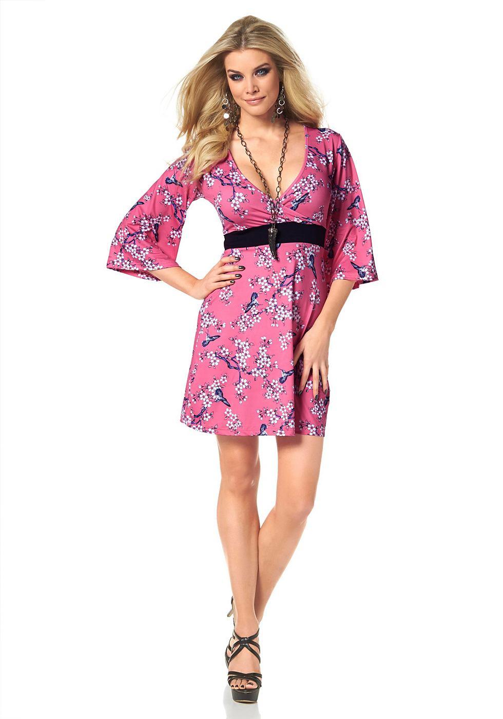 Melrose jersey-jurk in wikkel-look roze