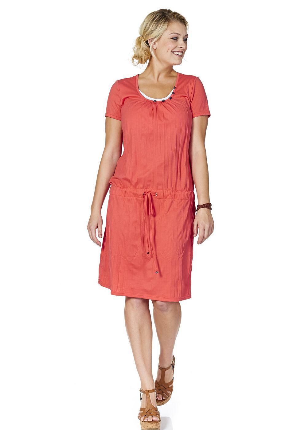 SHEEGO jurk met aandeel katoen rood