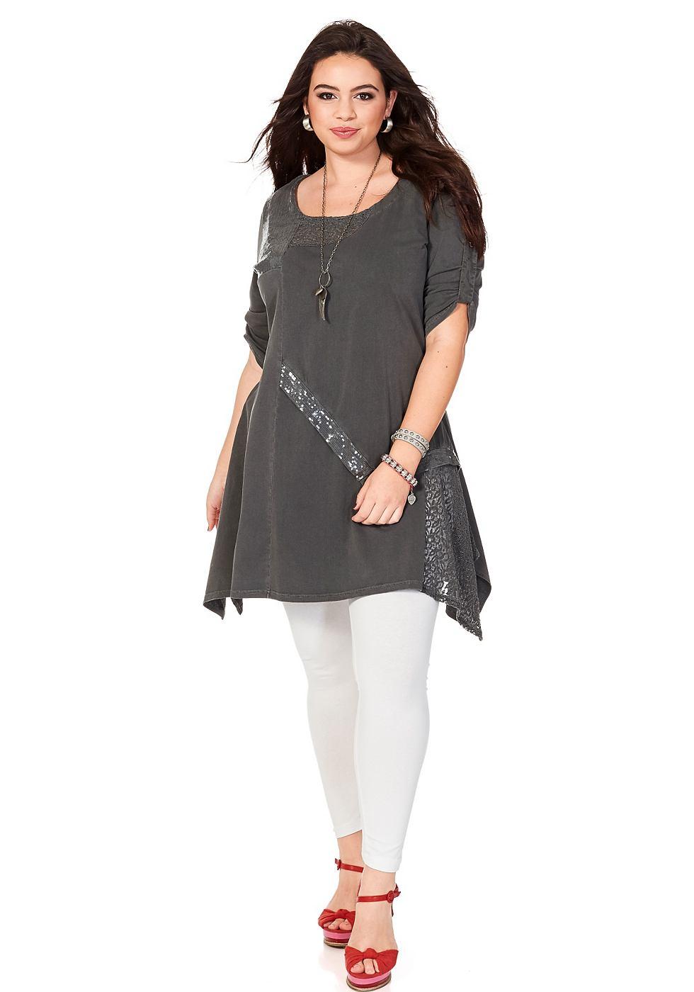 SHEEGO TREND jurk in washed-look grijs
