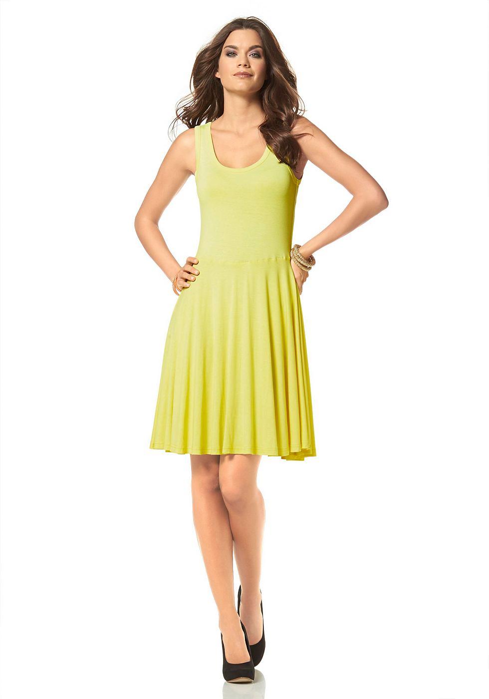 Laura Scott Mouwloze jersey-jurk geel