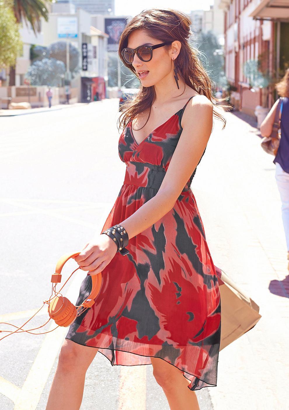 Aniston jurk met smokinzet rood