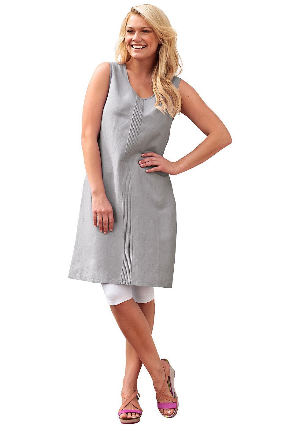 SHEEGO jurk met linnen grijs