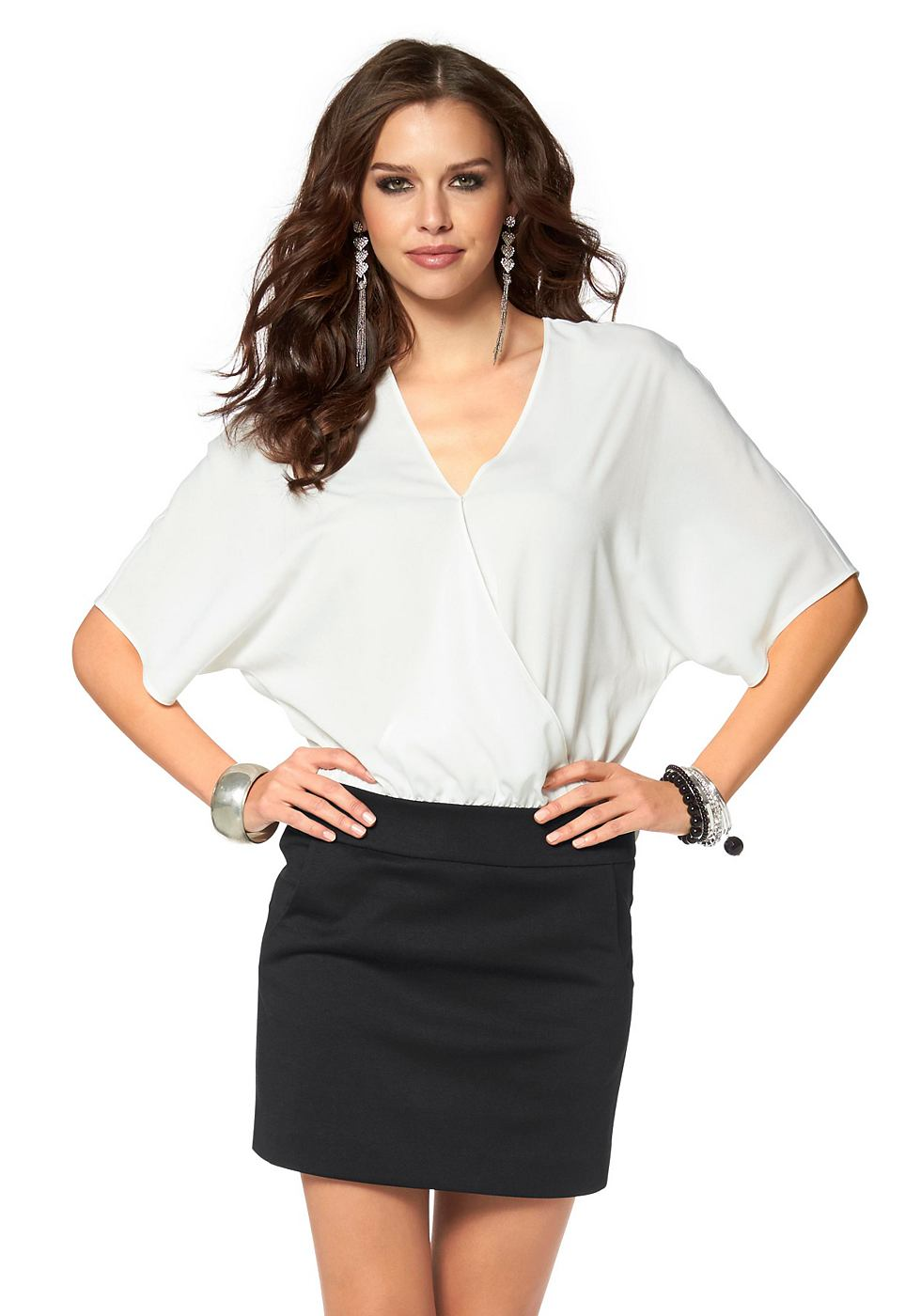 Laura Scott Shirt-jurk in 2-in-1-look zwart
