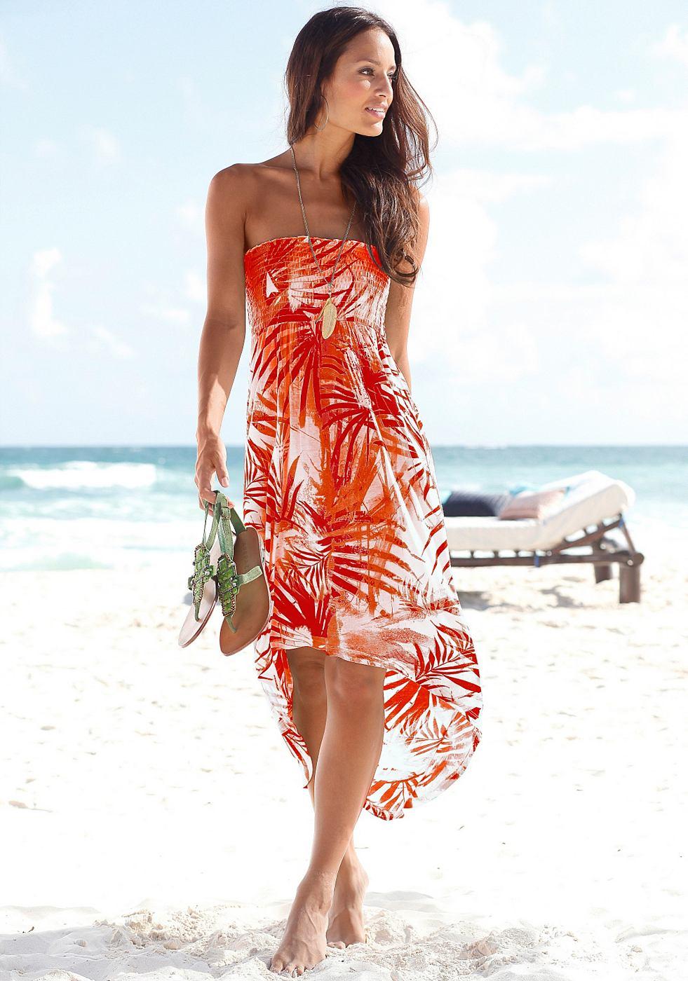 Beachtime Strandjurk met gesmokte inzet oranje
