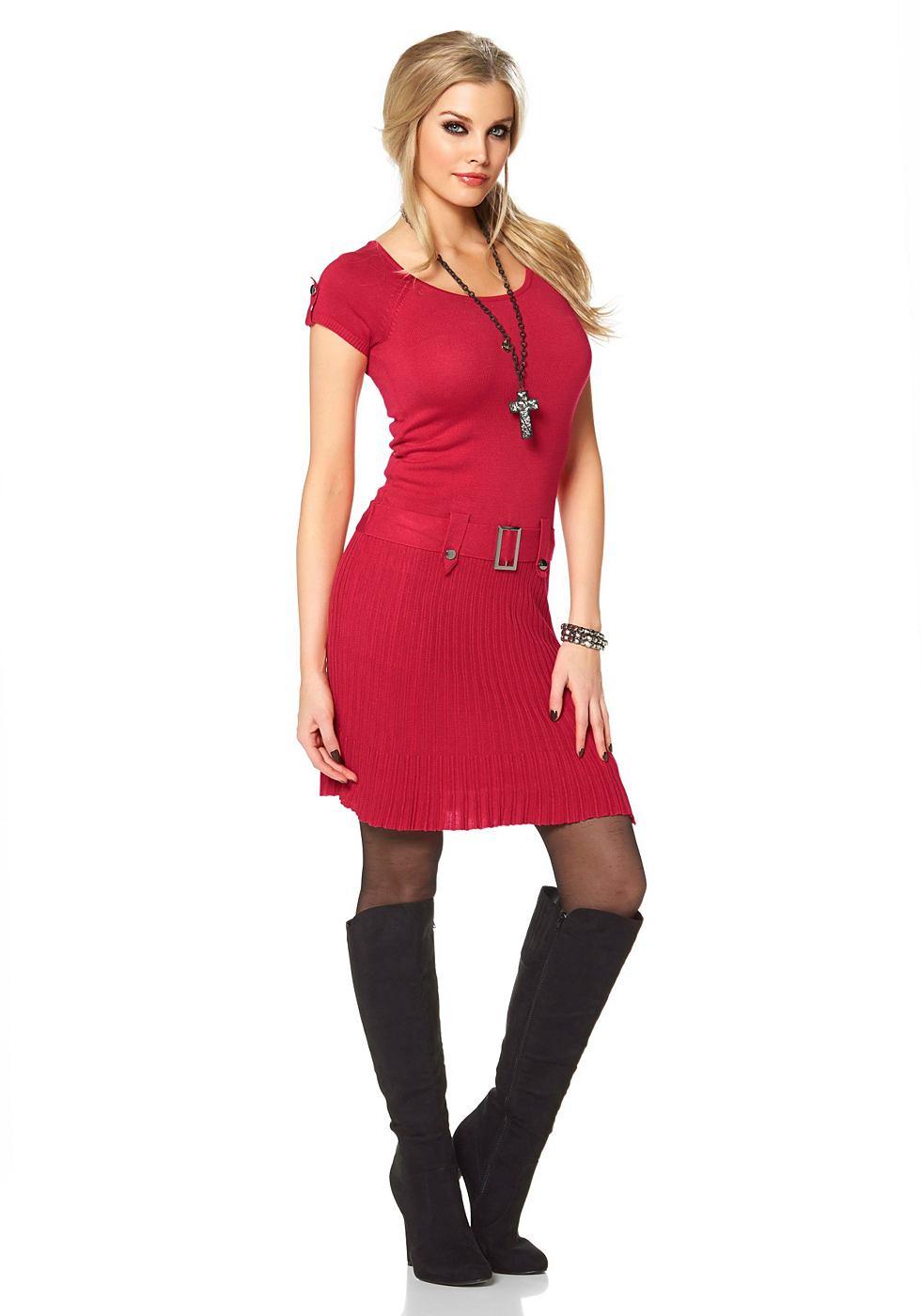 Melrose Tricot-jurk met sierceintuur rood