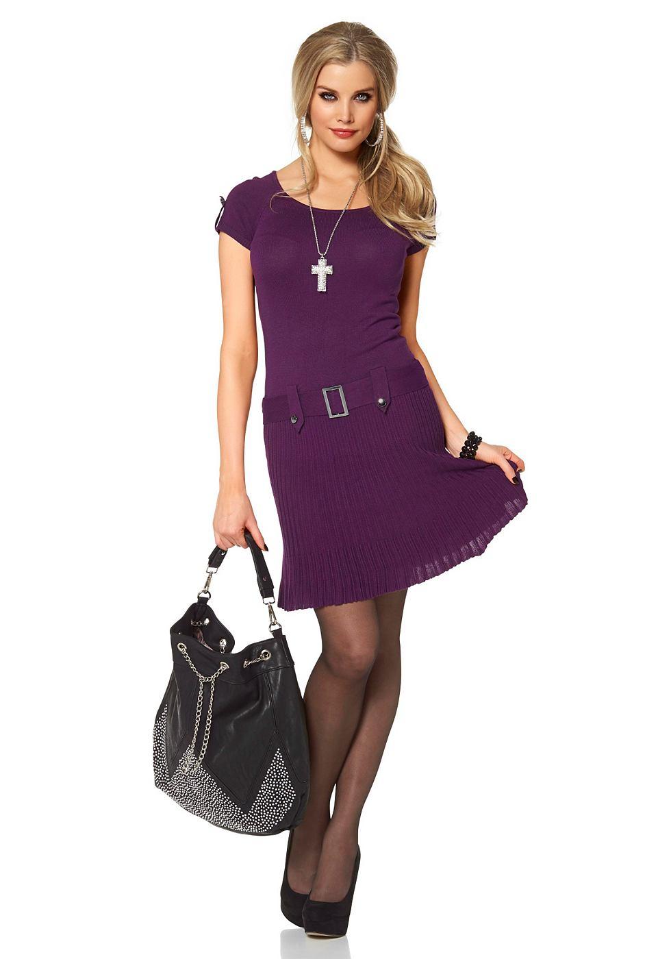 Melrose Tricot-jurk met sierceintuur paars
