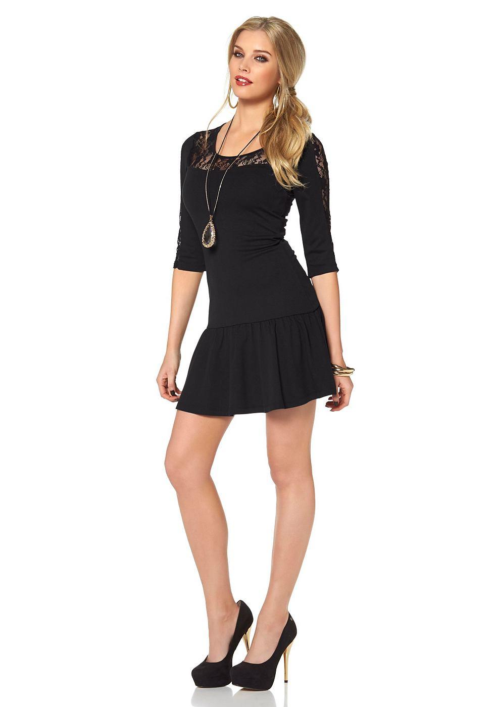 Melrose jersey-jurk met kanten inzet zwart