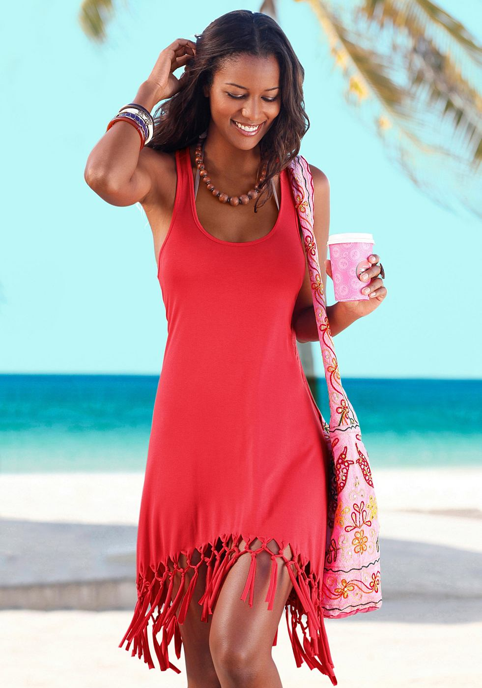 Beachtime Shirt in lang model rood