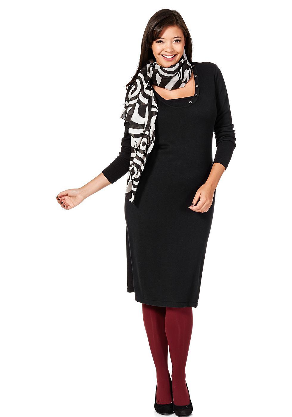Sheego Style tricotjurk zwart