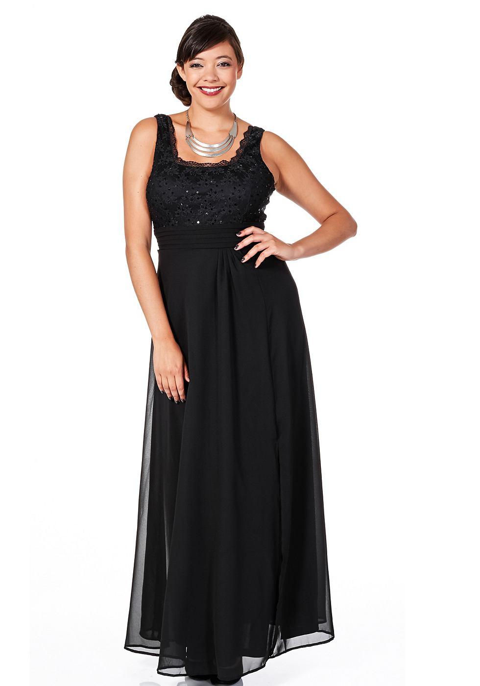 Sheego Style jurk met lijfje van kant zwart