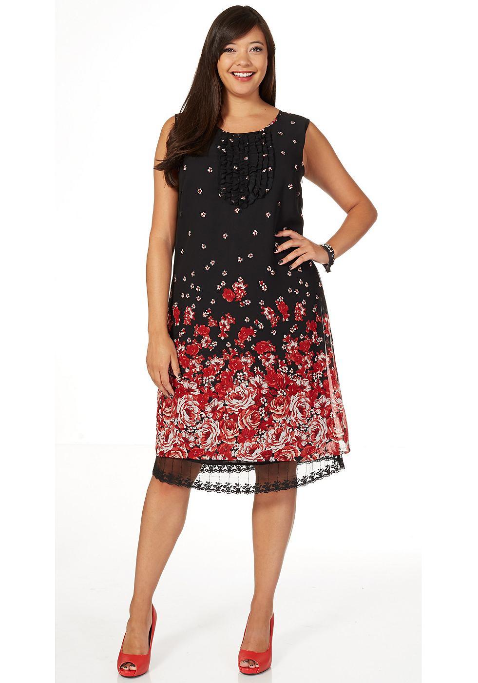 Sheego Style jurk van chiffon zwart