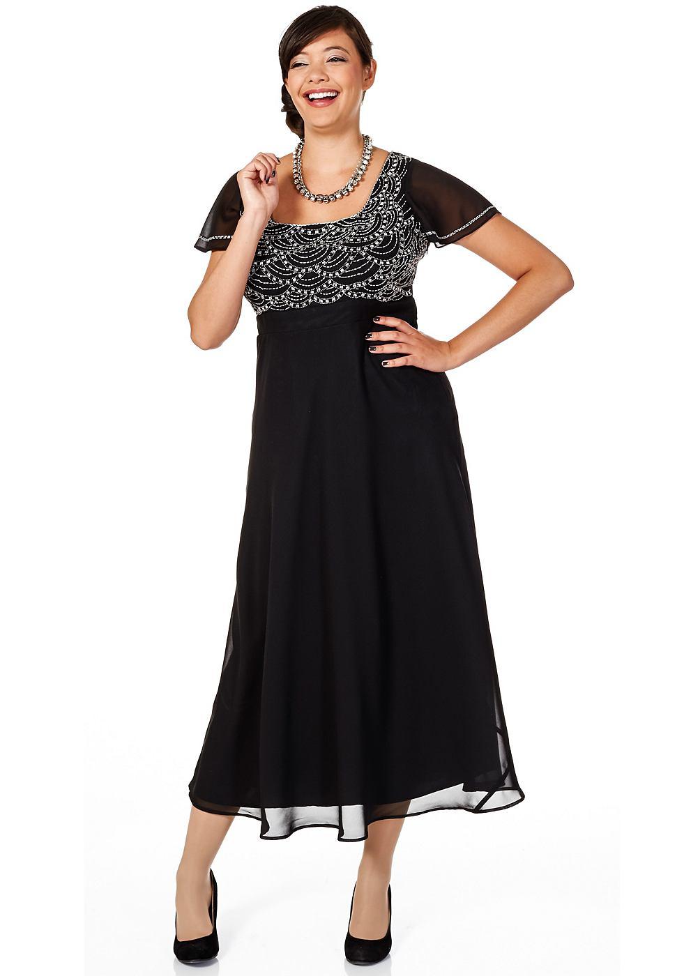 Sheego Style jurk in chiffonkwaliteit zwart