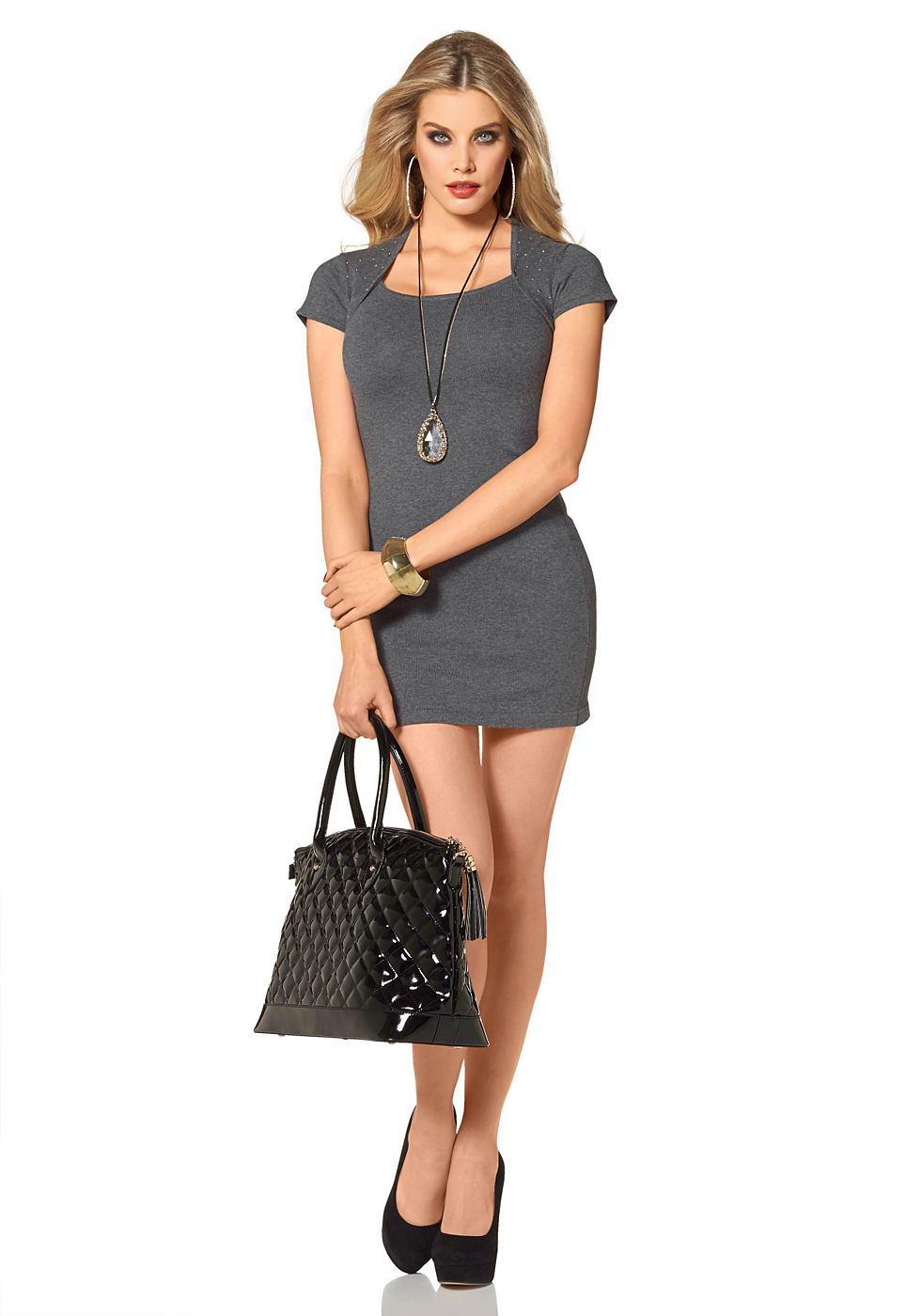 Melrose Tricot-jurk in bolero-look grijs