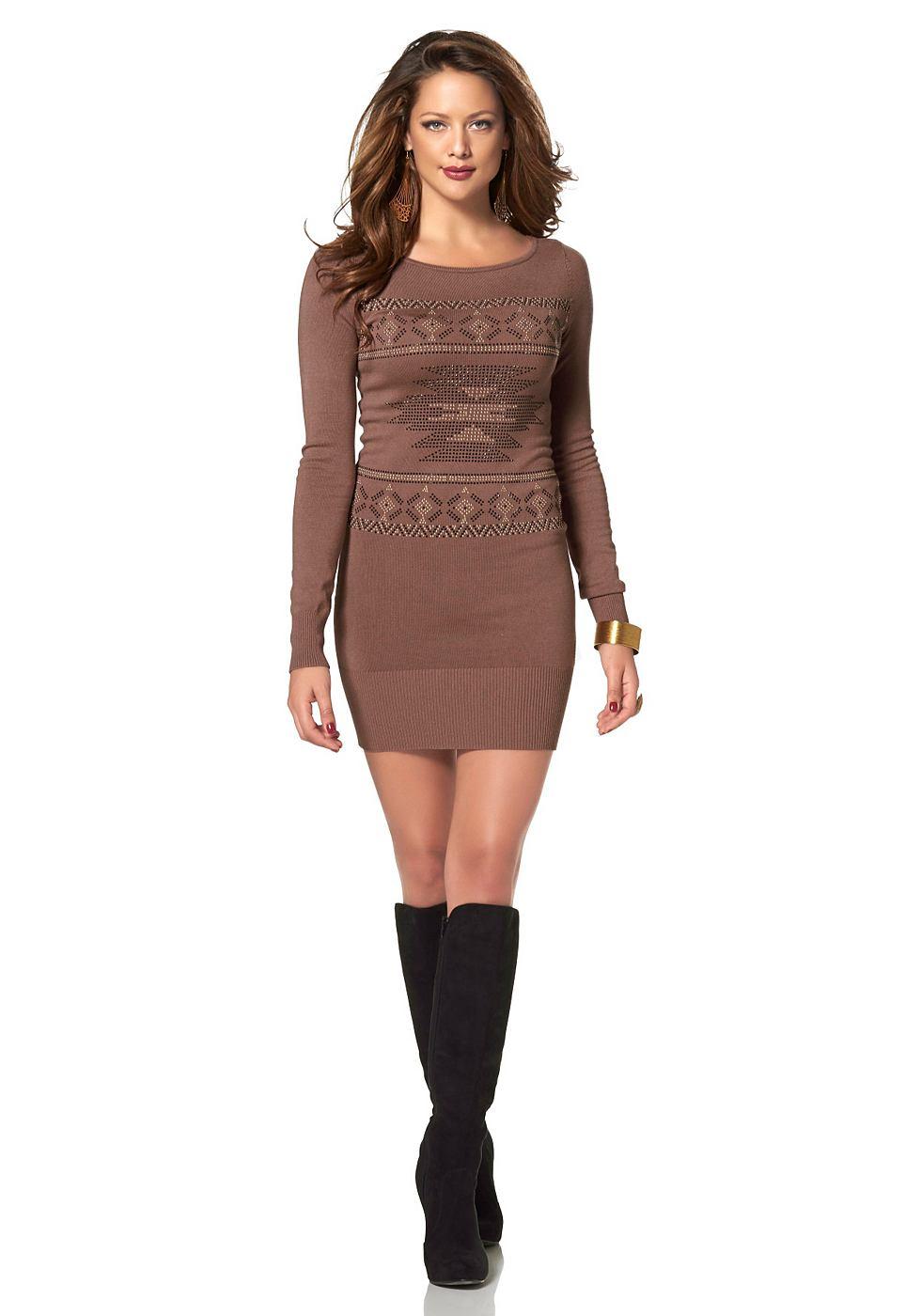 Melrose Lange trui met ronde hals bruin