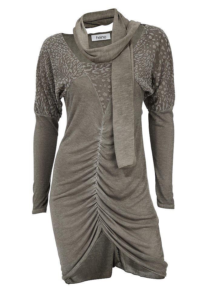 jurk met lange mouwen beige