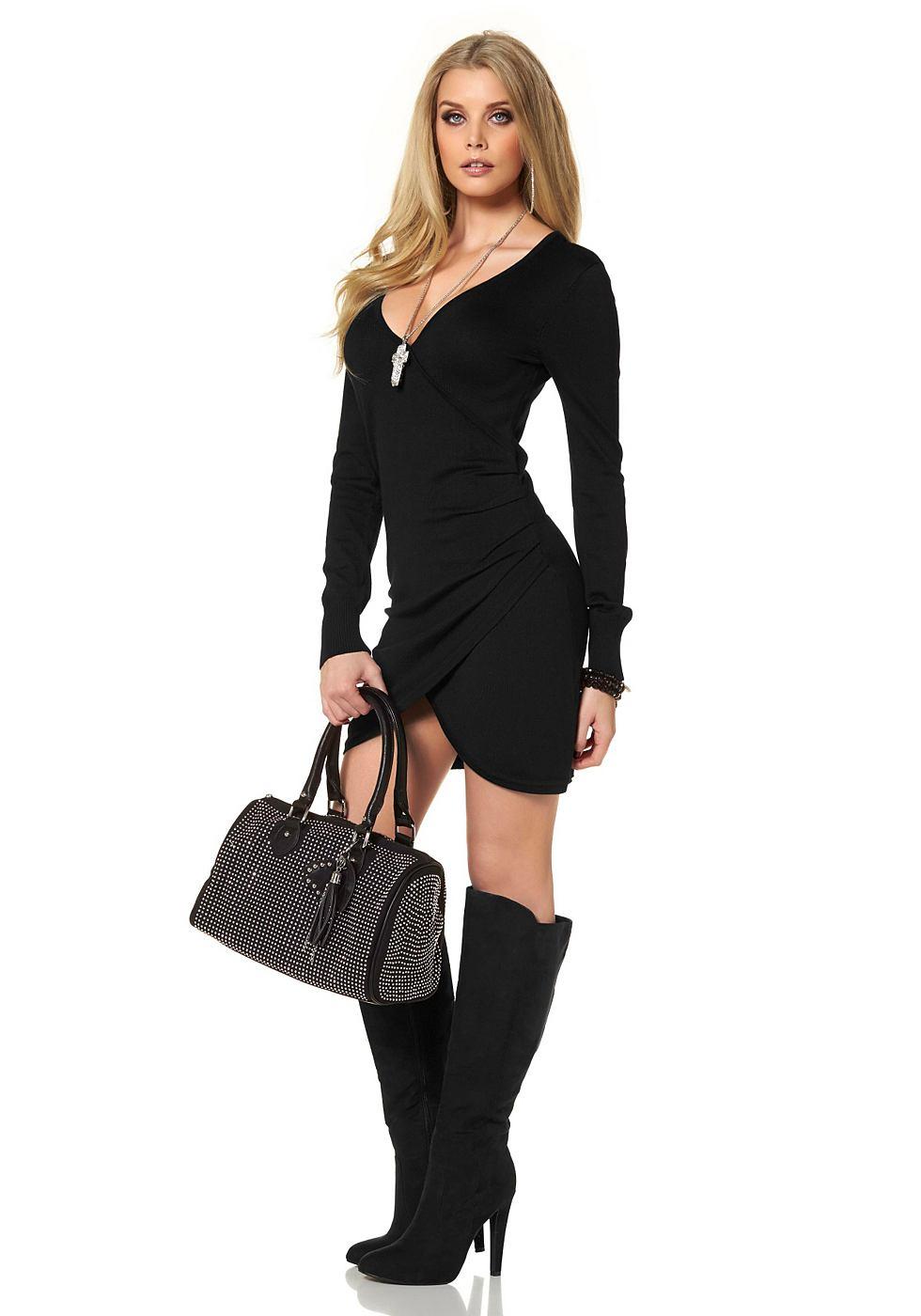Melrose Tricot-jurk in wikkel-look zwart