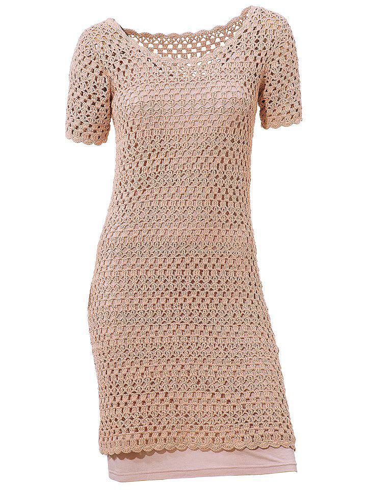 Ashley Brooke Gehaakte jurk beige