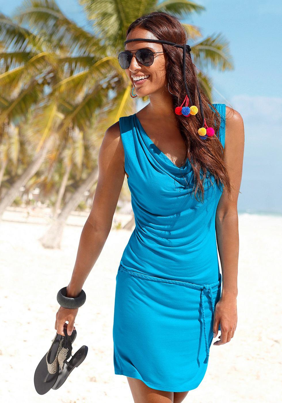 Beachtime Strandjurk met gevlochten koord blauw