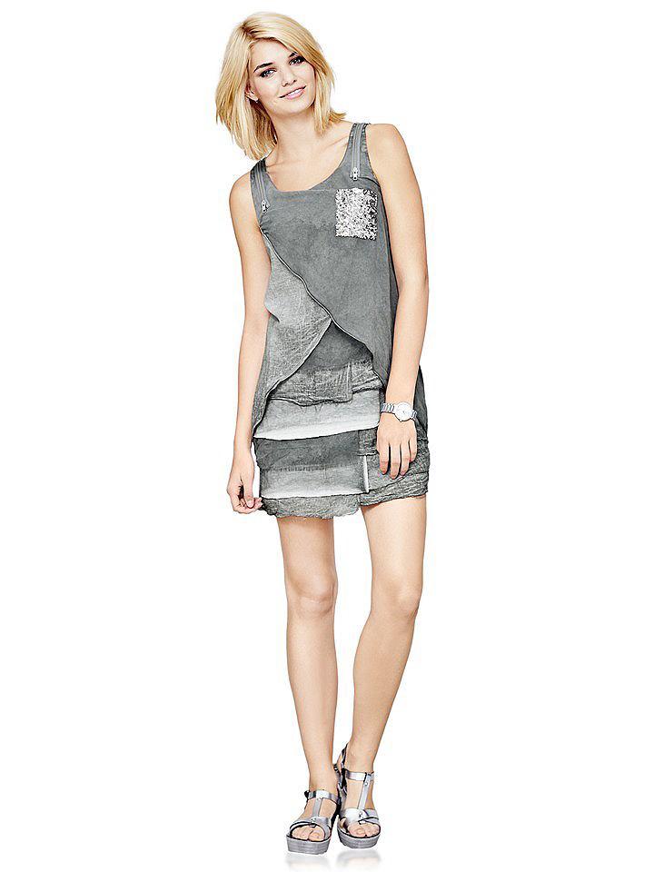 jurk in overgooiermodel grijs