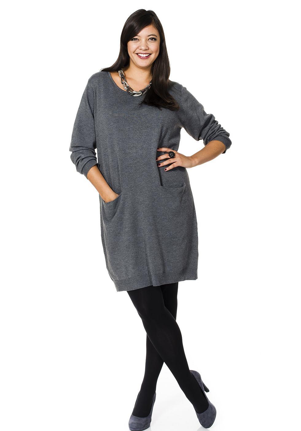 Sheego Style tricotjurk grijs
