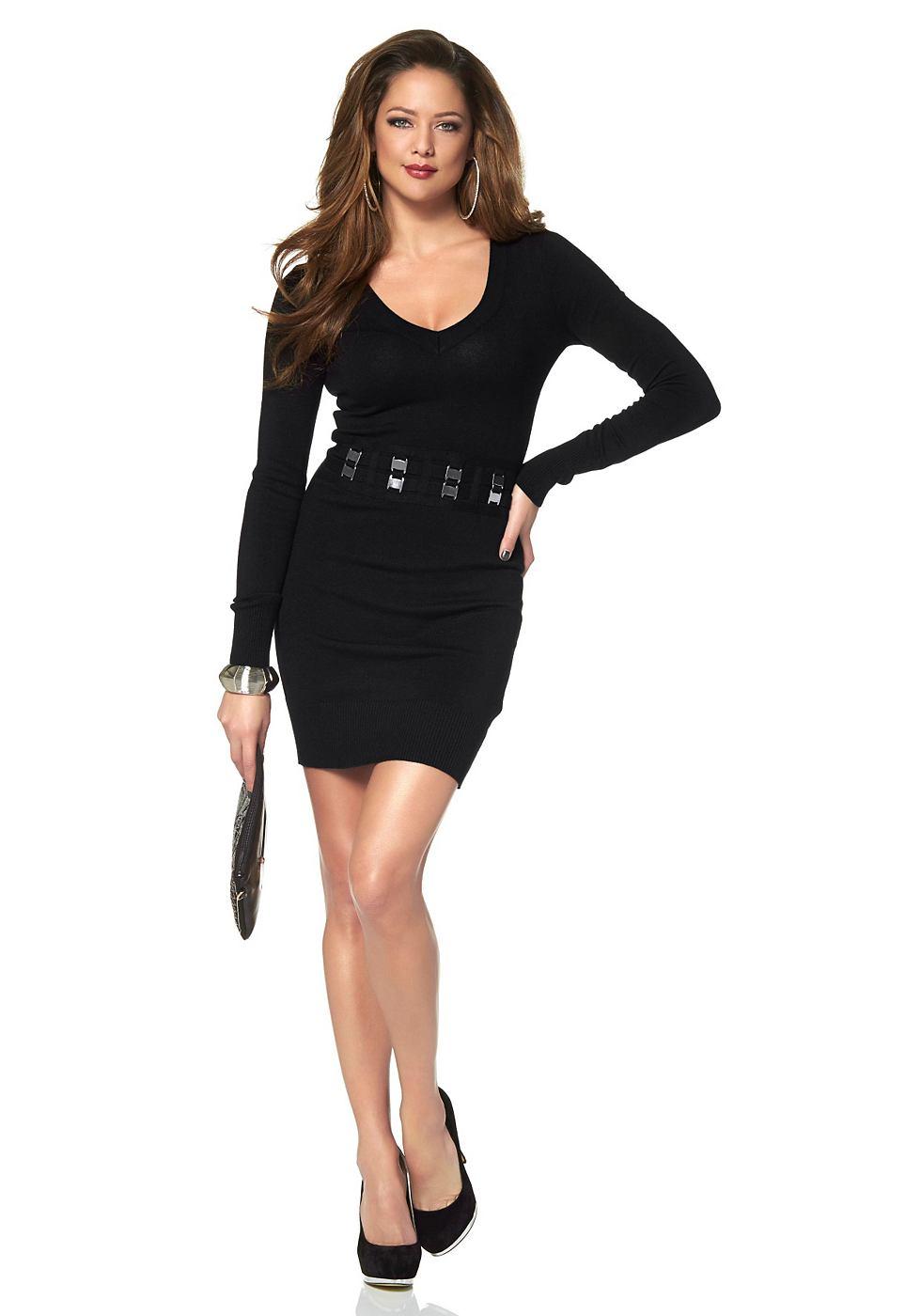 Melrose Tricot-jurk voorzien van gespriempjes zwart
