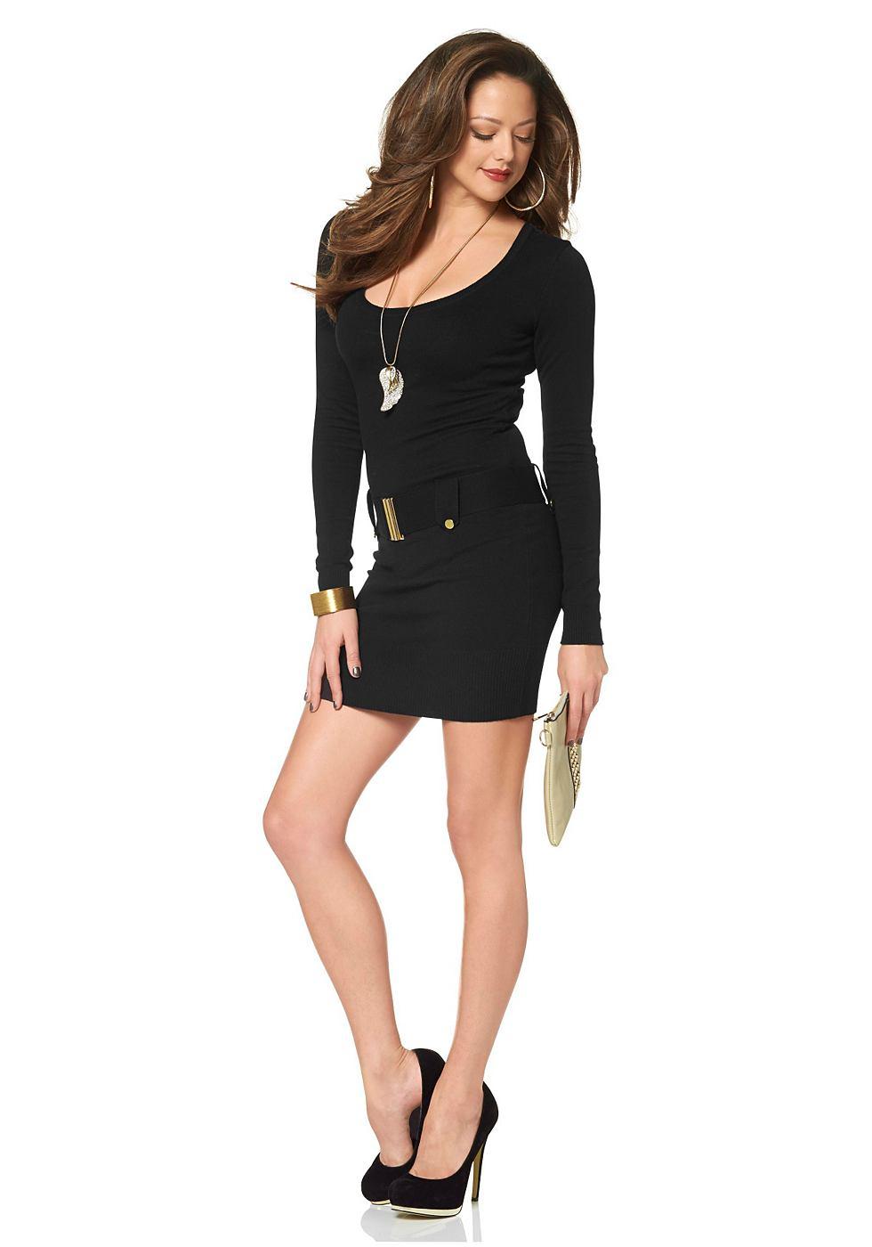 Melrose Tricot-jurk met wijde ronde hals zwart