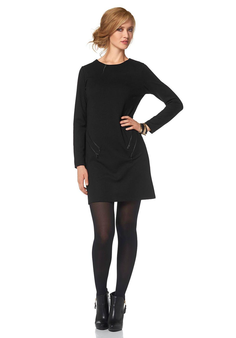 Aniston jersey-jurk met 4 sierritsen zwart