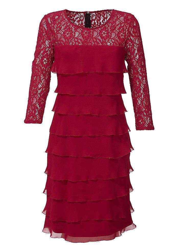 Ashley Brooke kanten jurk rood