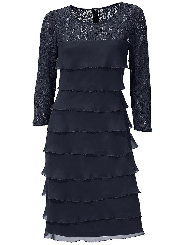 Ashley Brooke kanten jurk blauw