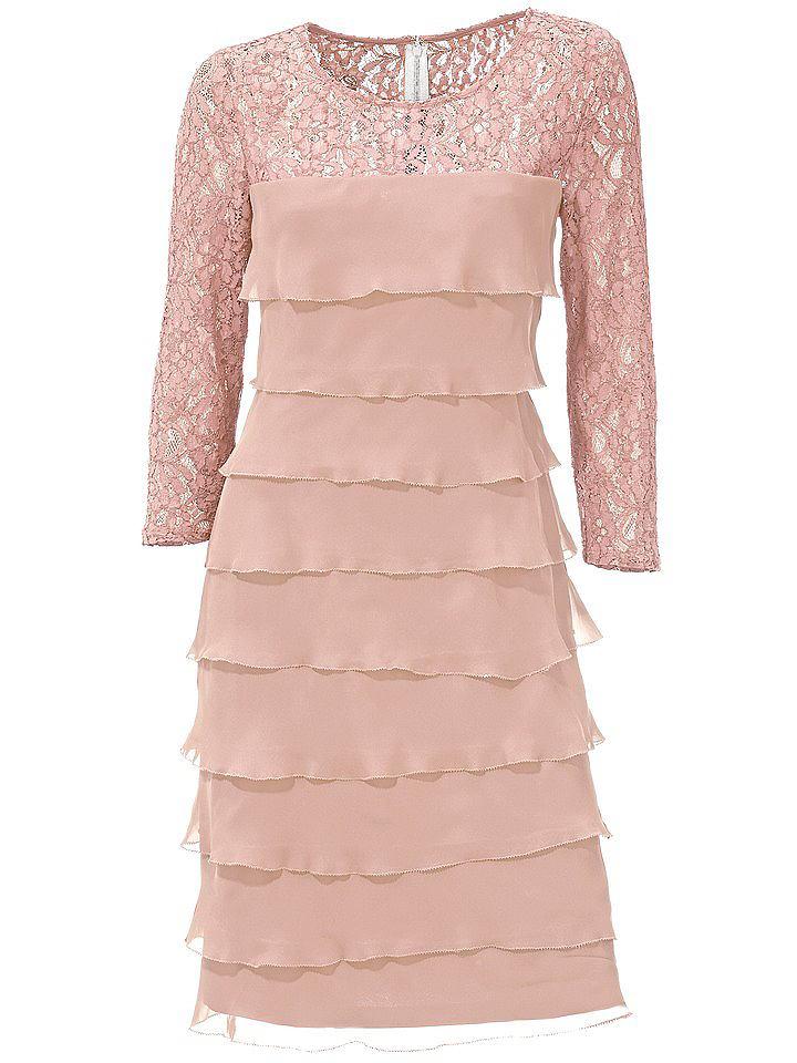 Ashley Brooke kanten jurk roze