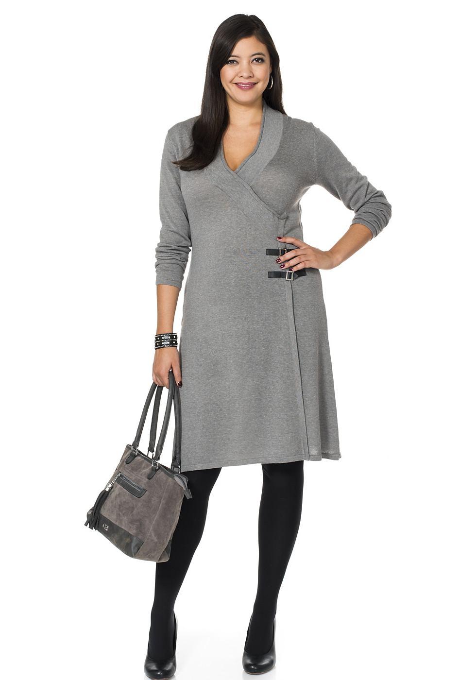 NU 20% KORTING: Sheego Style Tricot-jurk in wikkel-look grijs