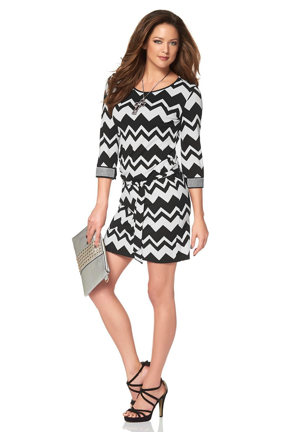 Melrose jersey-jurk met zigzagmotief zwart