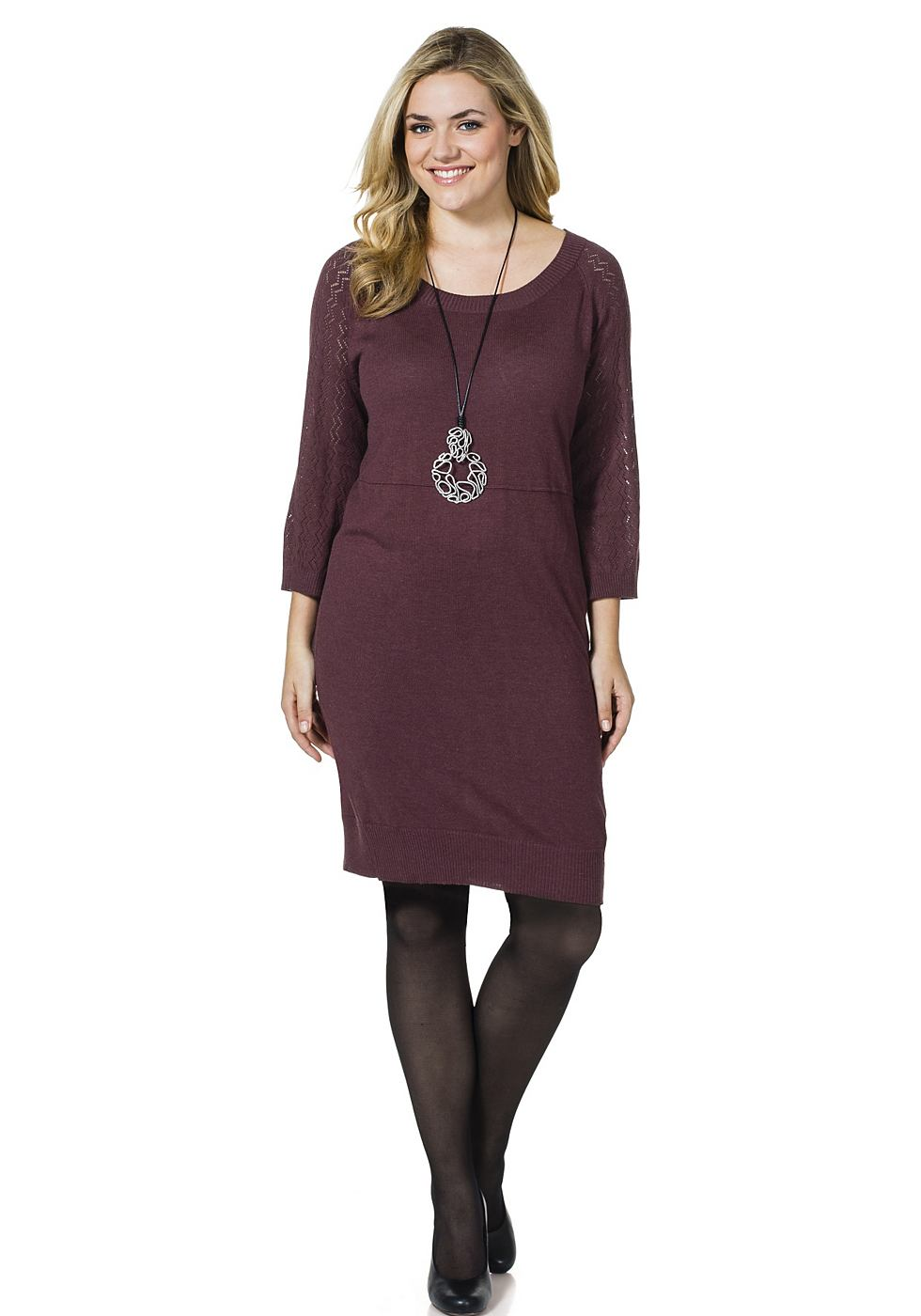 Sheego Casual Tricot-jurk zonder sluiting rood
