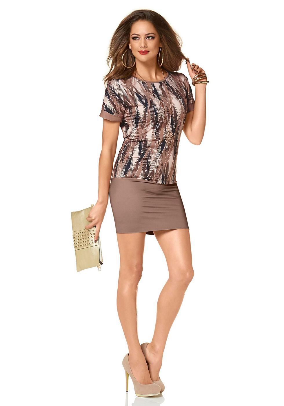 Melrose jersey-jurk met grafische print bruin