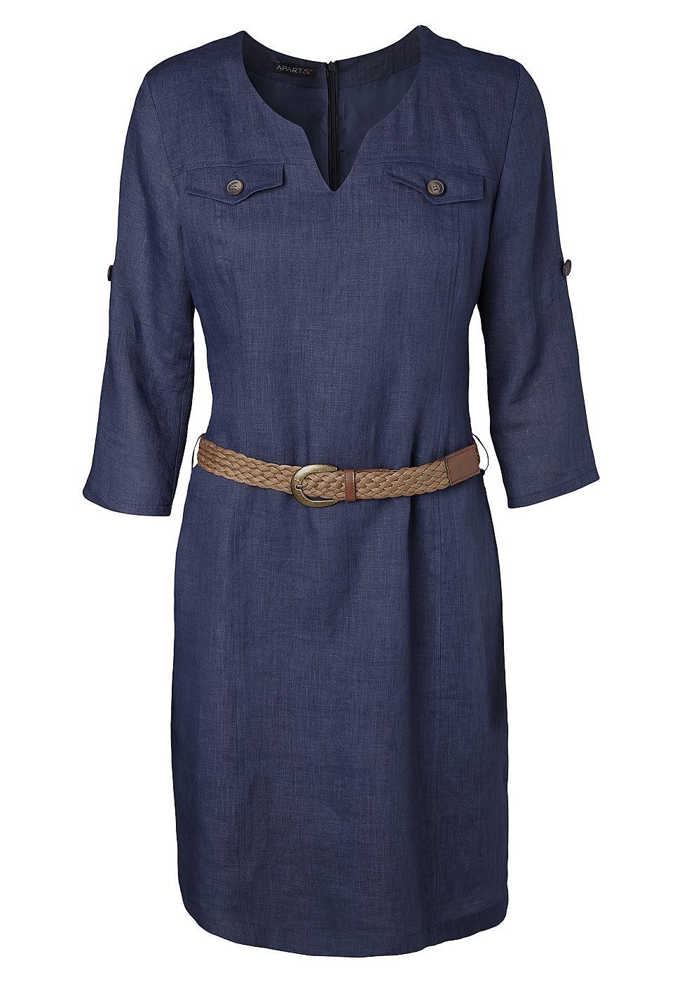Apart Linnen jurk blauw
