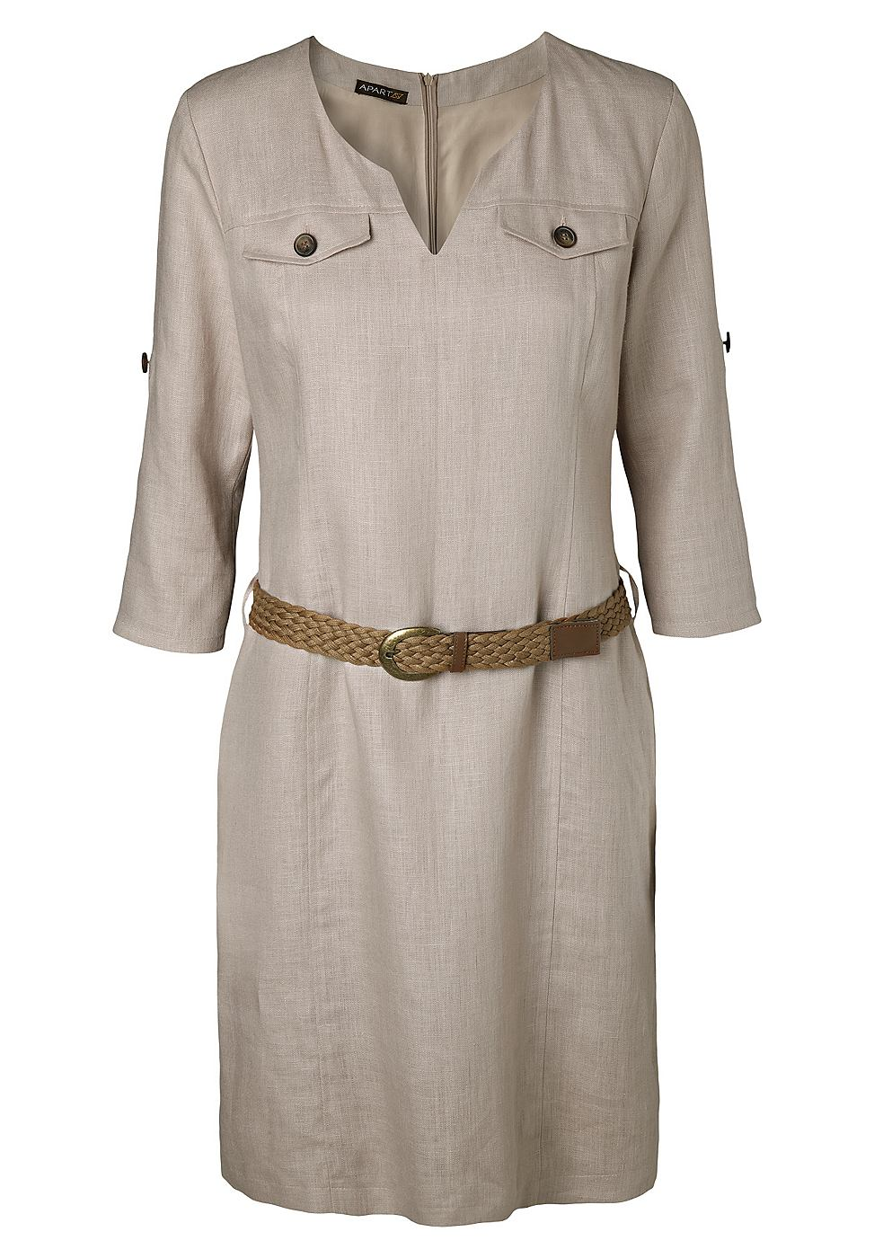 NU 15% KORTING: Apart Linnen jurk grijs