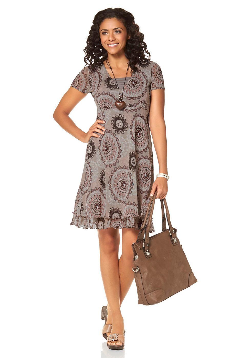 Boysen's Mesh-jurk in dubbellaagse verwerking bruin