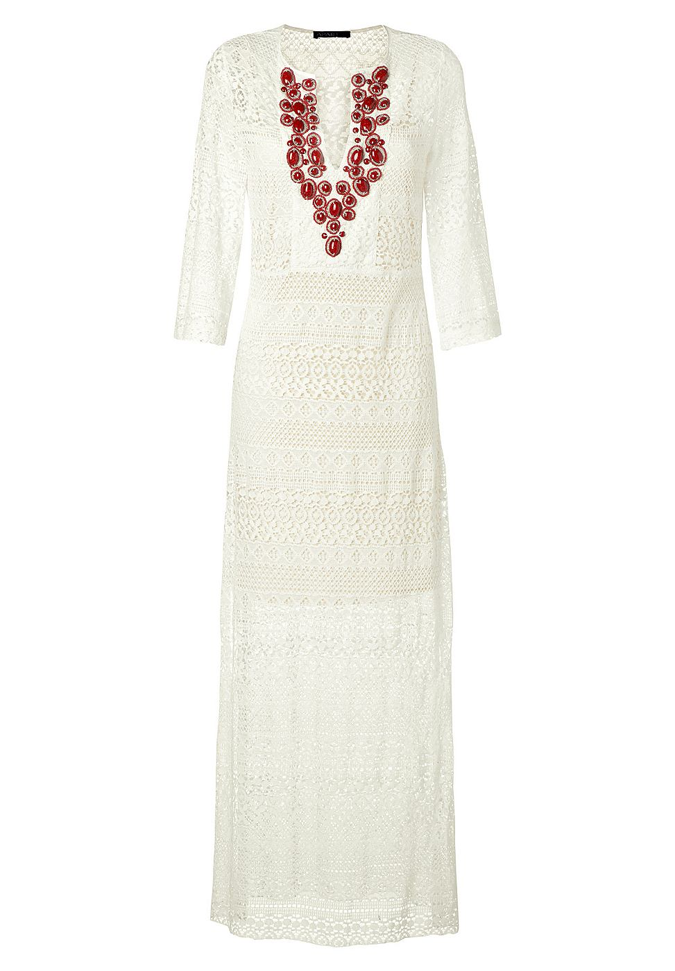 NU 15% KORTING: Apart kanten jurk beige