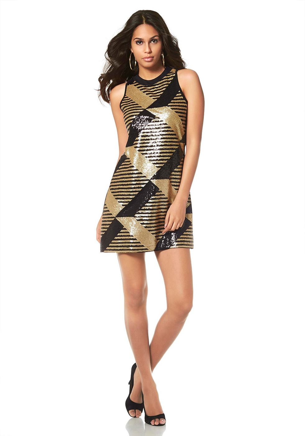 Laura Scott jurk in A-lijn goud