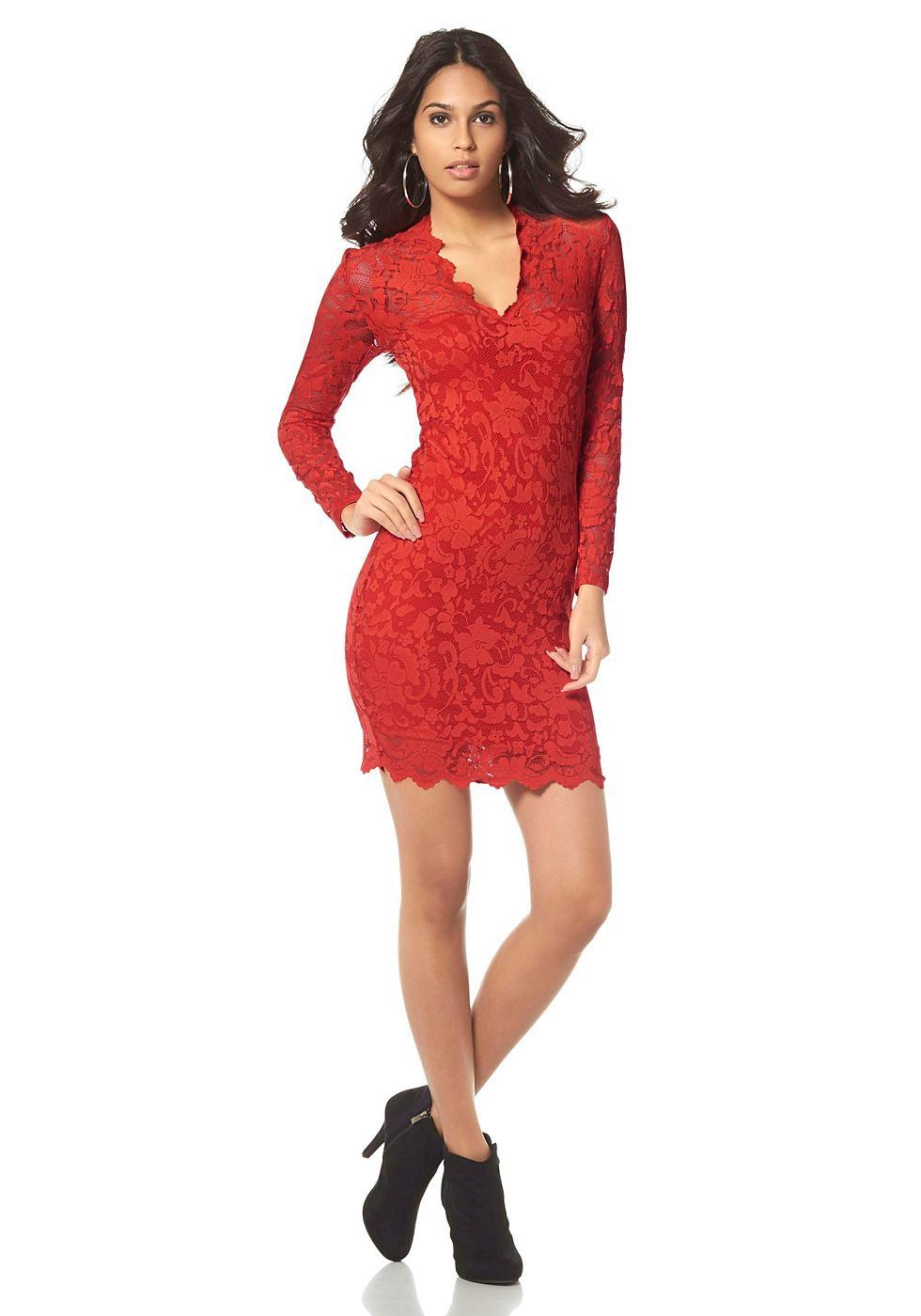Laura Scott kanten jurk met diepe V-hals rood