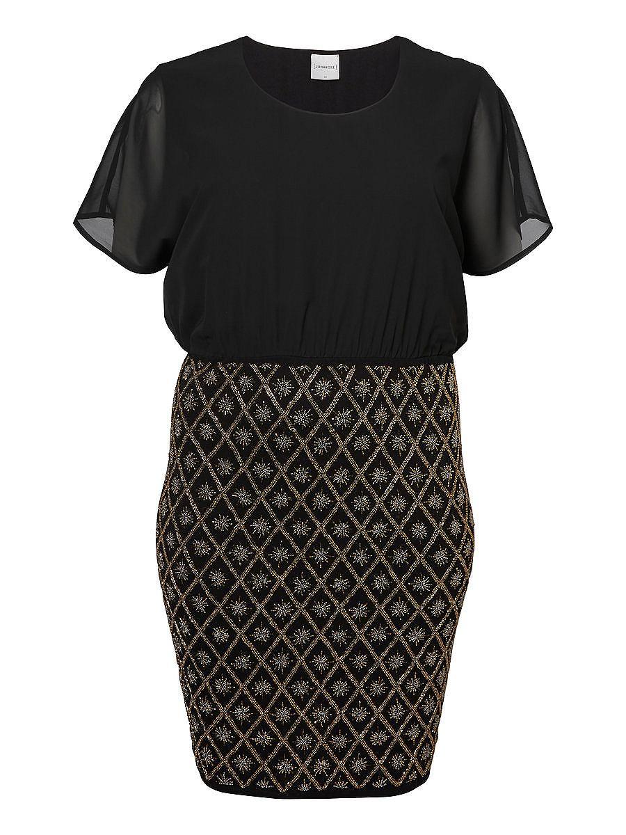 Junarose Short sleeved Woven Pearl detailed Party dress zwart