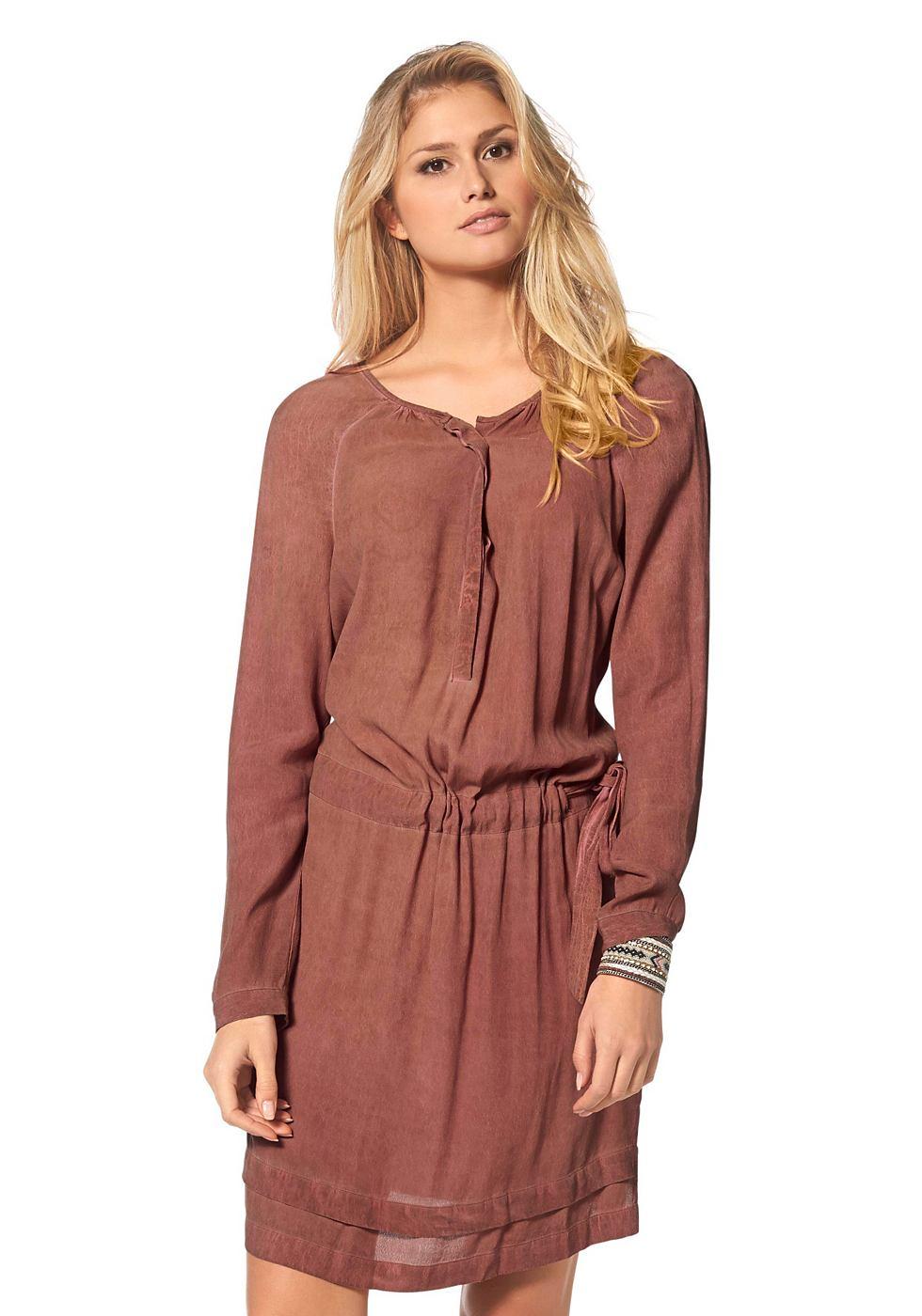 s.Oliver Premium Mini-jurk met ronde hals oranje