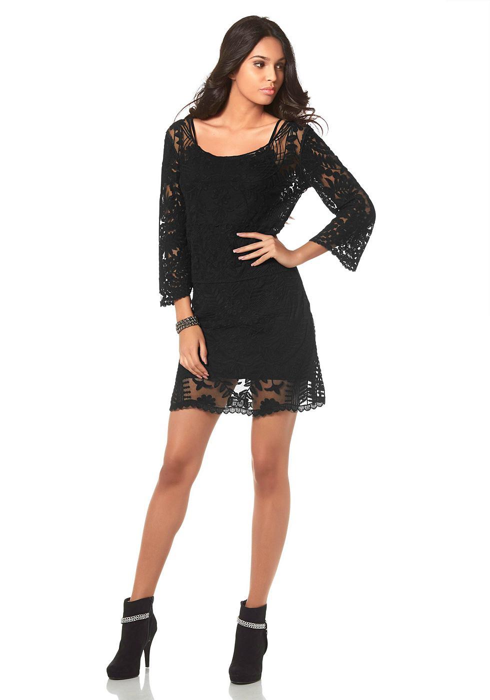 Laura Scott kanten jurk van netstof zwart